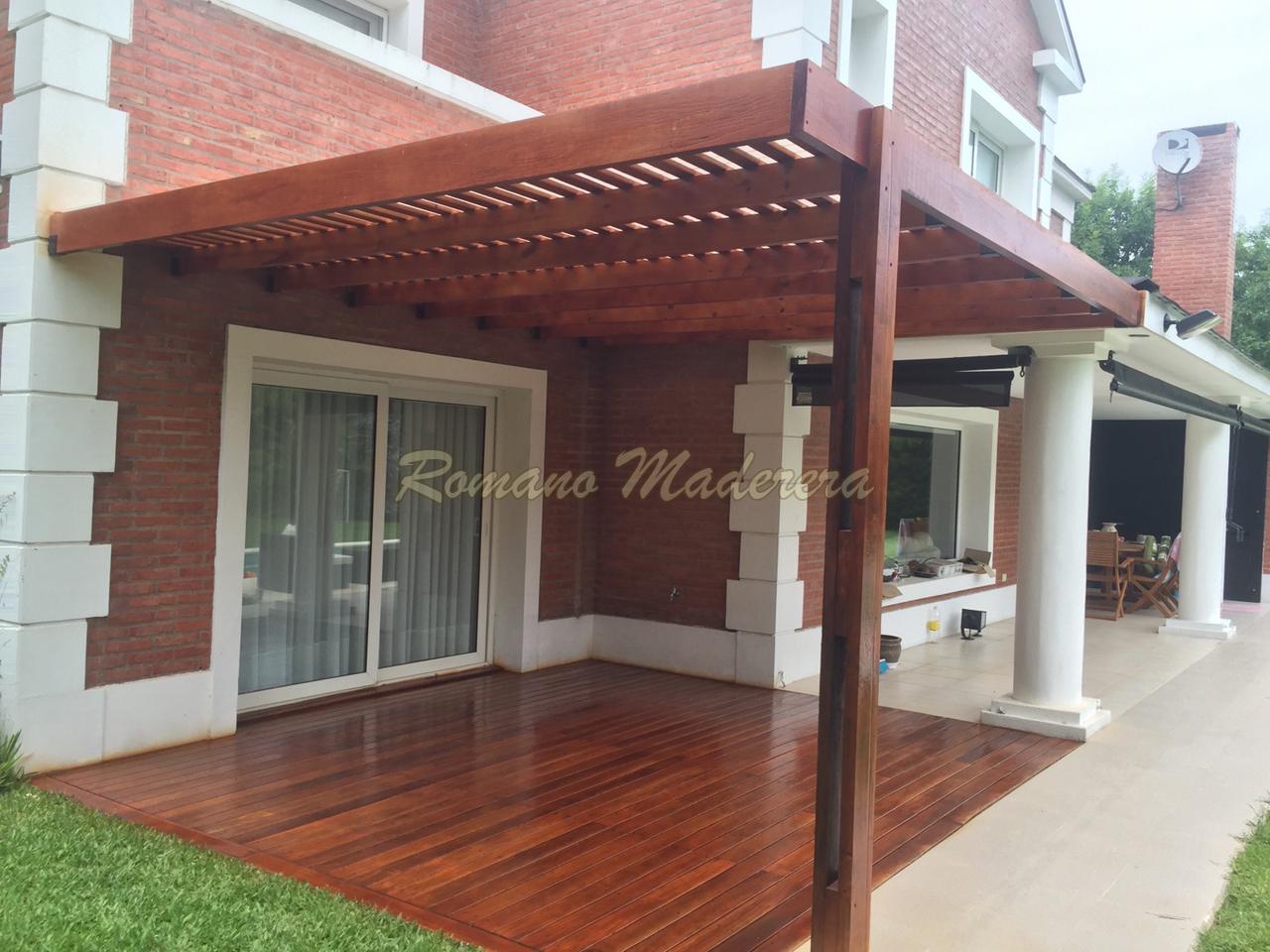 Romano maderera pergolas for Casas de chapa para jardin